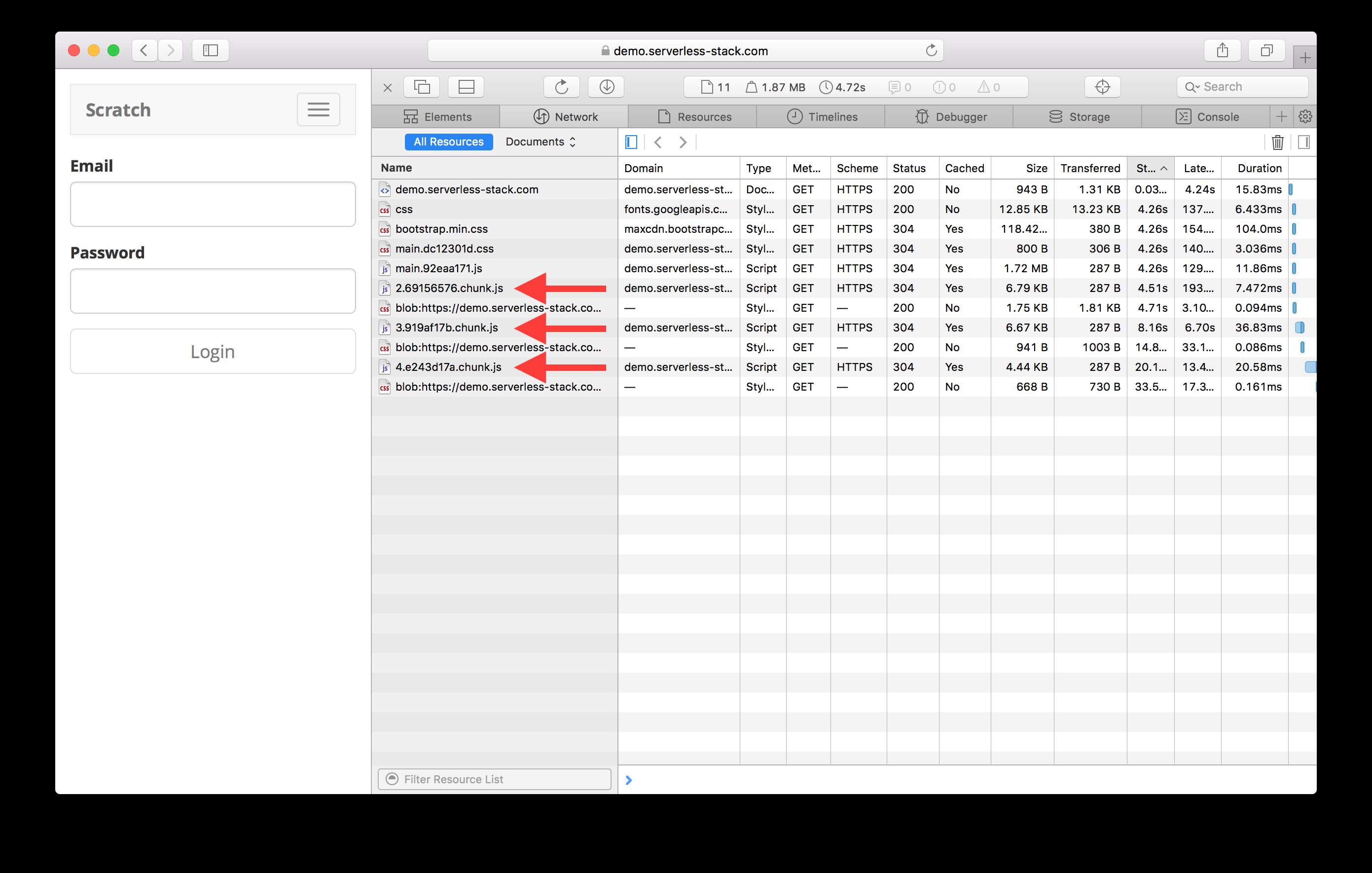 Create React App loading Code Splitting screenshot