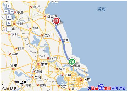 江苏水运地图南通到滨海水路路程多少公里
