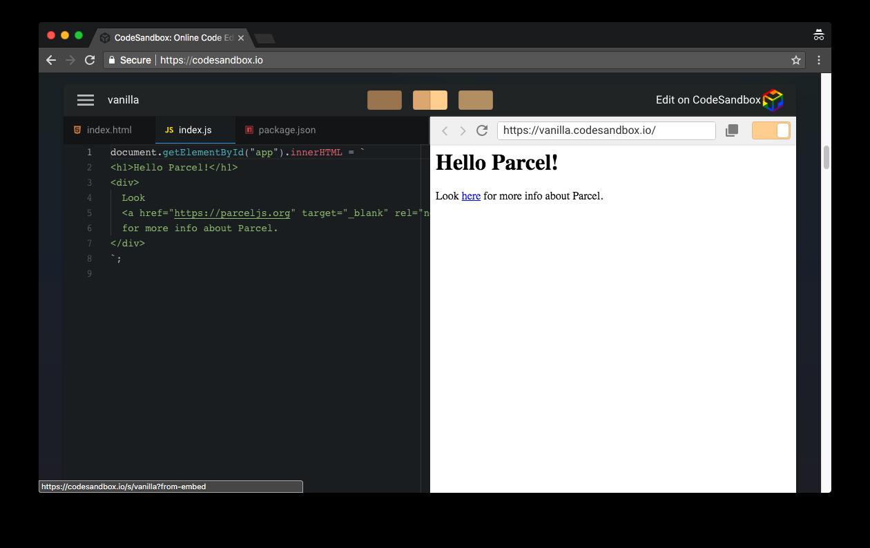 CodeSandbox JavaScript project preview
