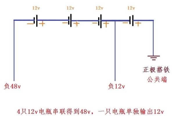 4個電瓶各12v如何接法即串聯又并聯從而得出12v和48v圖片
